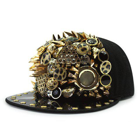 Stylish Leopard Buttons and Rivets Embellished Men's Black Baseball Cap