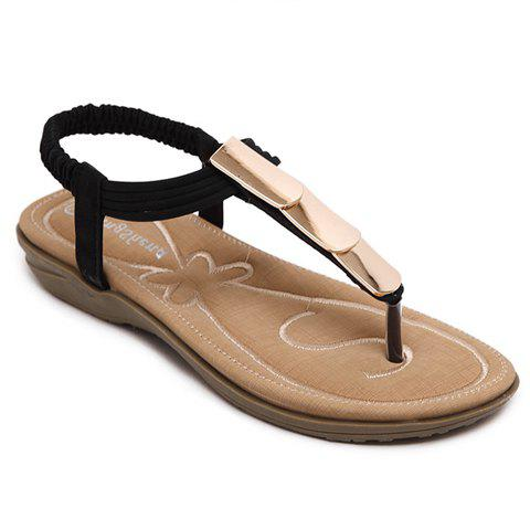 Leisure Solid Colour and Metal Design Women's Sandals - BLACK 38