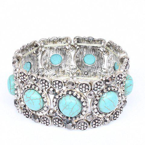 Gorgeous Round Faux Turquoise Carving Floral Bracelet For Women