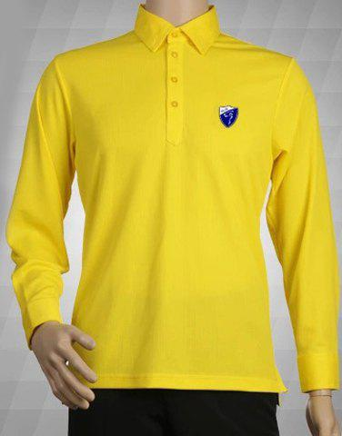 Solid Color Turn Down Collar Long Sleeve Badge Men 39 S Polo