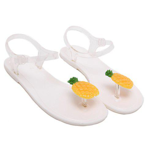 Casual Colour Block and Transparent Plastic Design Women's Sandals - MILK WHITE 39