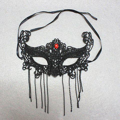 Stylish Fashion Rhinestone Decorated Openwork Lace Tassel Mask For Women - BLACK