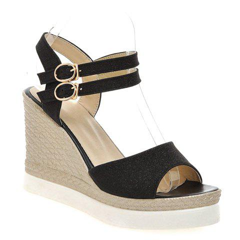 Fashion Wedge Heel and Sequined Cloth Design Women's Sandals - BLACK 34