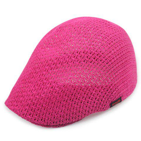 Chic Solid Color Hollow Out Women's Weaving Beret - ROSE