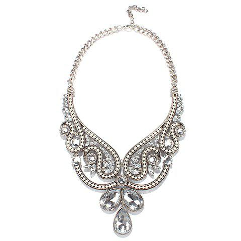 Alloy Faux Crystal Necklace - SILVER