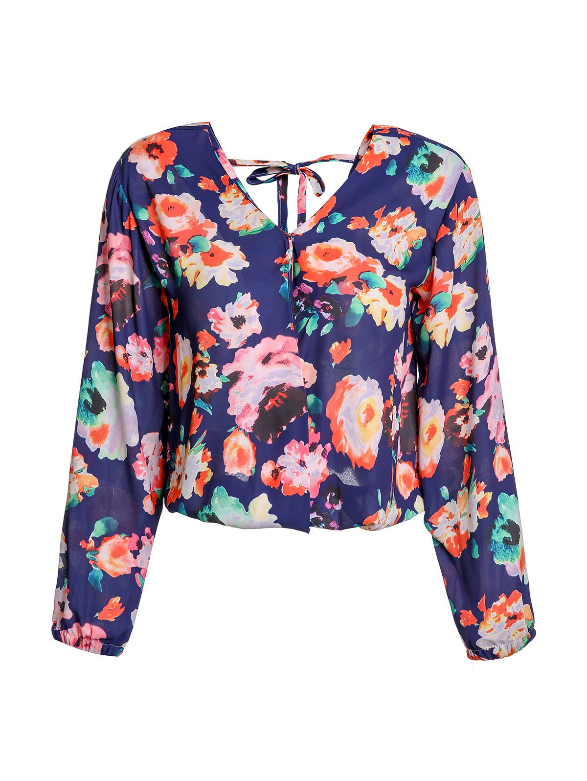Stylish Women's V-Neck Long Sleeve Cut Out  Floral Print Blouse