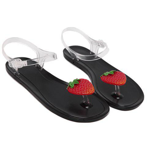 Leisure Transparent Plastic and Strawberry Pattern Design Women's Sandals - BLACK 37