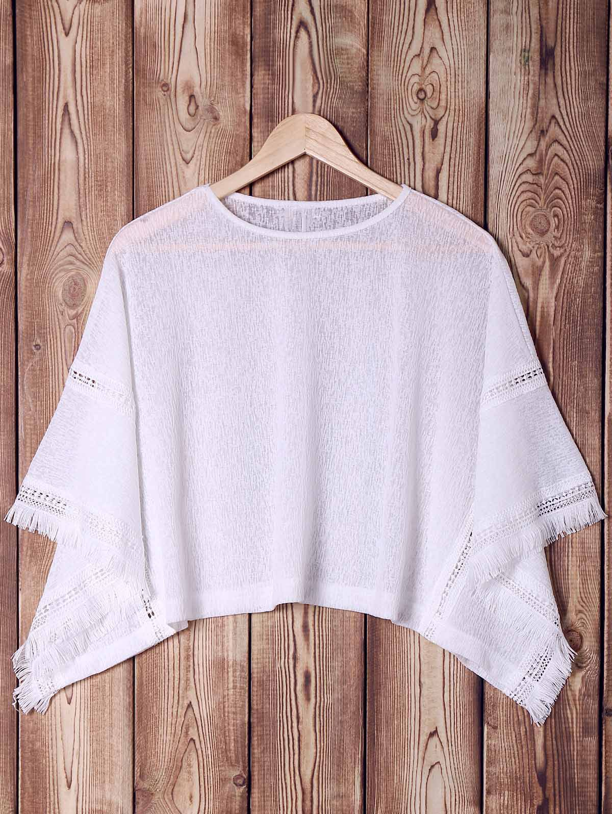 Stylish Batwing Sleeve White Hollow Out Fringed Blouse For Women - WHITE ONE SIZE(FIT SIZE XS TO M)