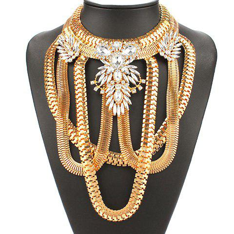 Vintage Exaggerated Multilayered Rhinestone Necklace For Women - GOLDEN