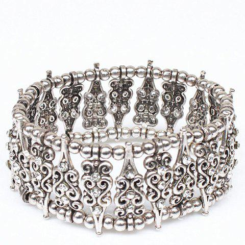 Bohemian Rhinestone Hollow Out Carving Bead Bracelet - SILVER