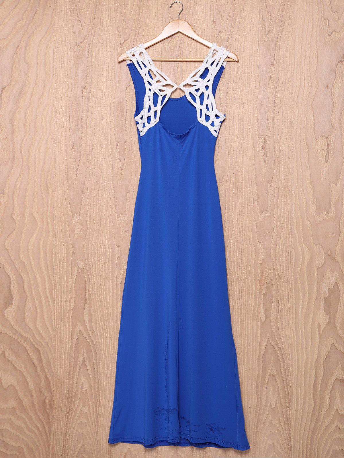 Trendy Sleeveless Scoop Neck Hollow Out Lace Spliced Women's Dress - BLUE XL