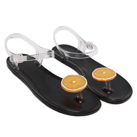 Simple Transparent Plastic and Color Block Design Women's Sandals - BLACK 39