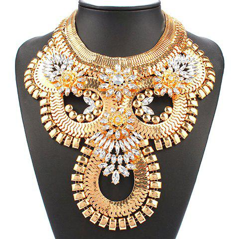 Alloy Rhinestone Pendant Necklace - GOLDEN