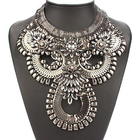 Alloy Rhinestone Necklace - GUN METAL