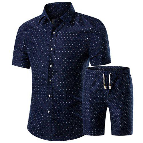 Vintage Plus Size Turn-Down Collar Polka Dot Printed Short Sleeves Shirt + Shorts For Men - COLORMIX M