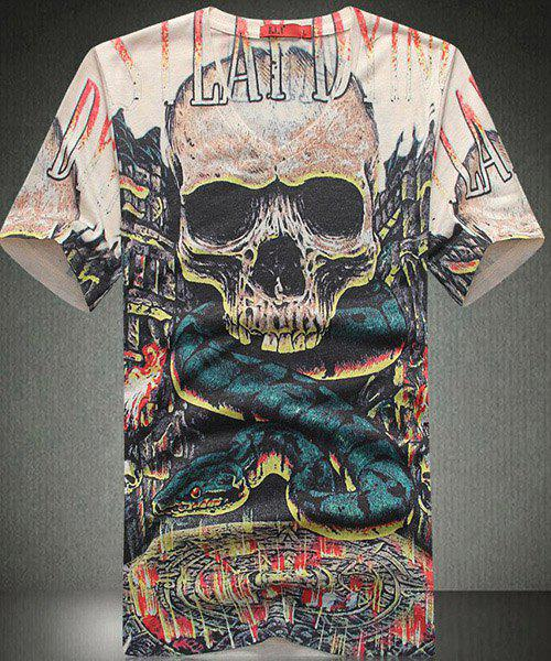 Slim Fit Skull Snake Printing V-Neck Short Sleeves T-Shirt For Men - COLORMIX L