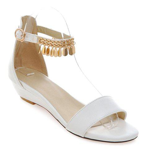 Casual Solid Color And Metal Design Women 39 S Sandals White 3 In Sandals