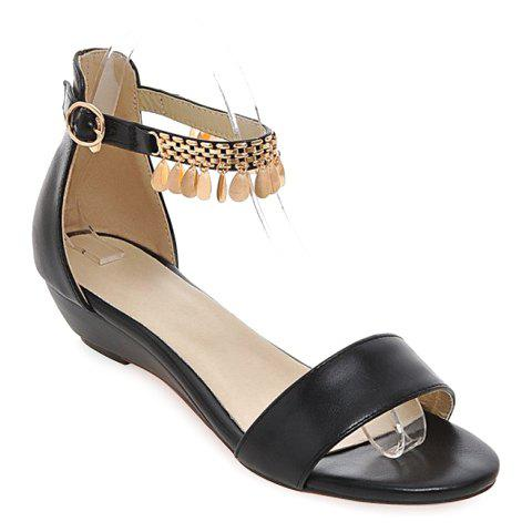 Casual Solid Color and Metal Design Women's Sandals - BLACK 37