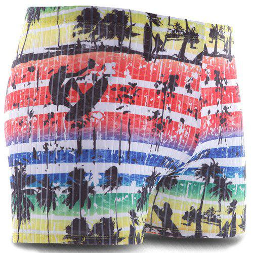 Beach Ombre Stripe Print Men's Sport Swimming Trunks - COLORMIX 2XL