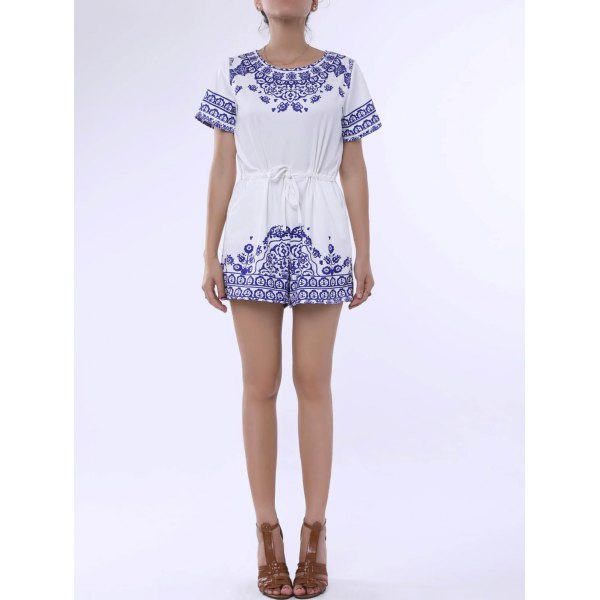 Trendy Round Neck Short Sleeve Great Wall Print Women's Blue and White Porcelain Playsuit