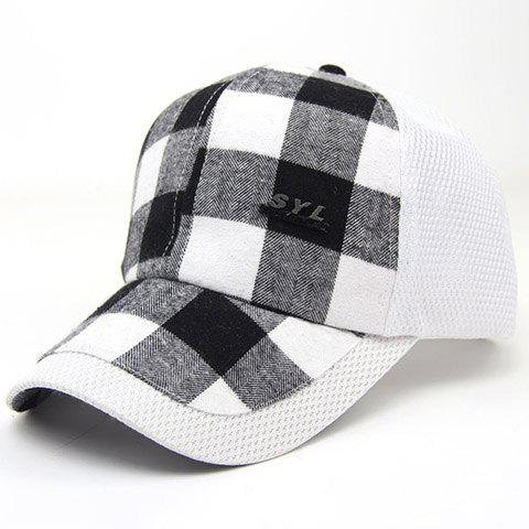 Chic Tartan Pattern Sun-Resistant Breathable Women's Baseball Cap - WHITE