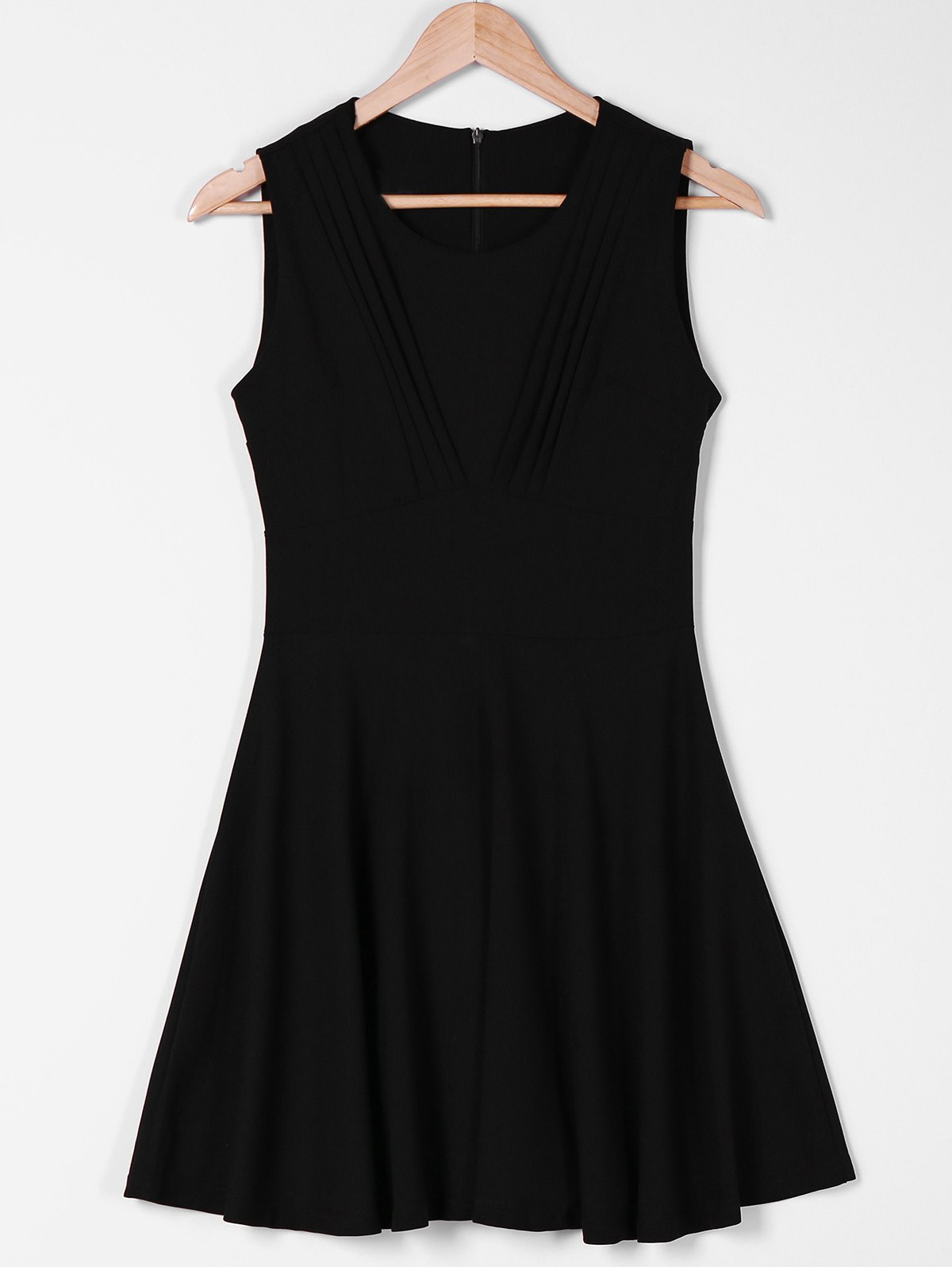 Trendy Round Neck Sleeveless Pure Color Pleated Dress For Women цена