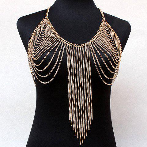 Gorgeous Multilayer Solid Color Long Tassel Body Chain For Women - GOLDEN