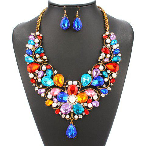 A Suit of Blossom Faux Pearl Necklace and Earrings - COLORMIX