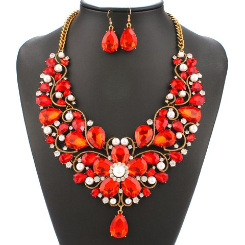 A Suit of Faux Pearl Flower Necklace and Earrings - RED