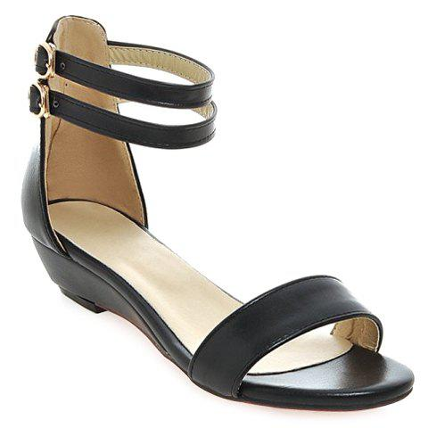 Candy Color Solid Color and Flat Heel Design Women's Sandals - BLACK 38