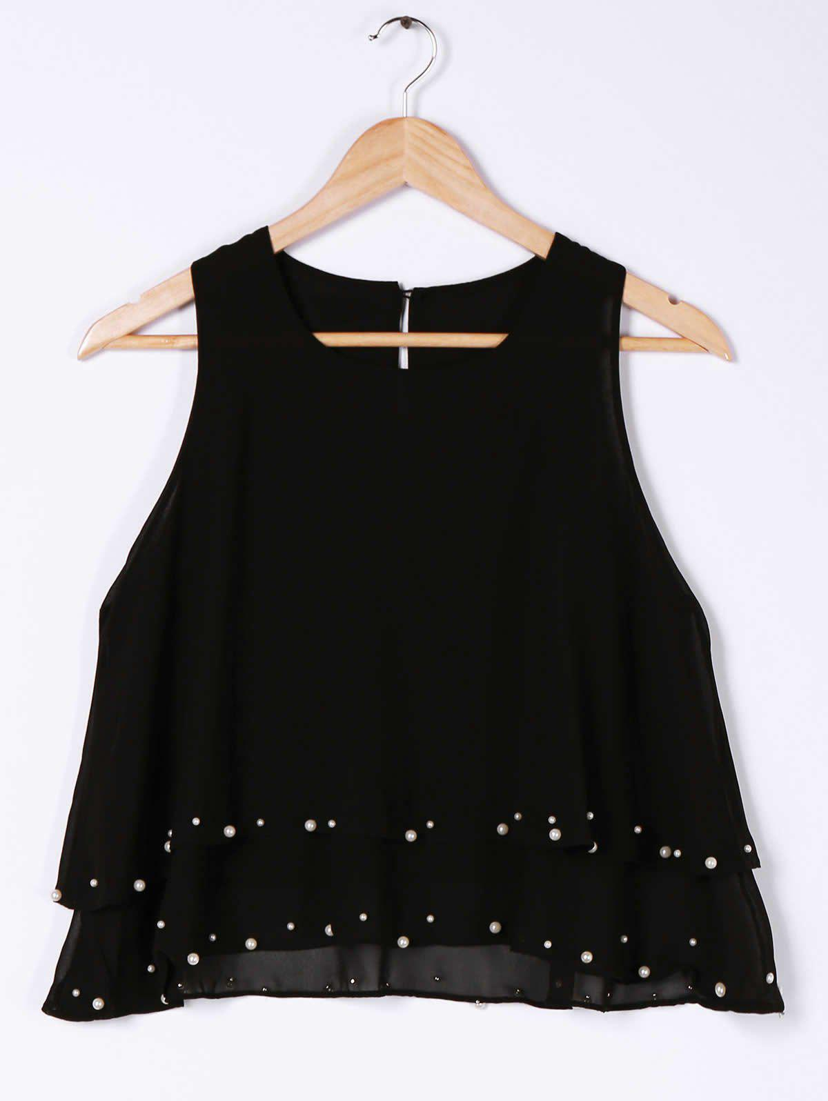Stylish Scoop Neck Beaded High Low Tank Top For Women - BLACK ONE SIZE(FIT SIZE XS TO M)