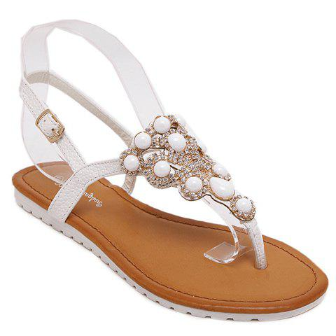 Casual Rhinestones and Flip Flop Design Women's Sandals - WHITE 38
