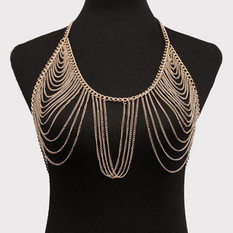 Gorgeous Multilayer Solid Color Tassel Bra Body Chain For Women - GOLDEN
