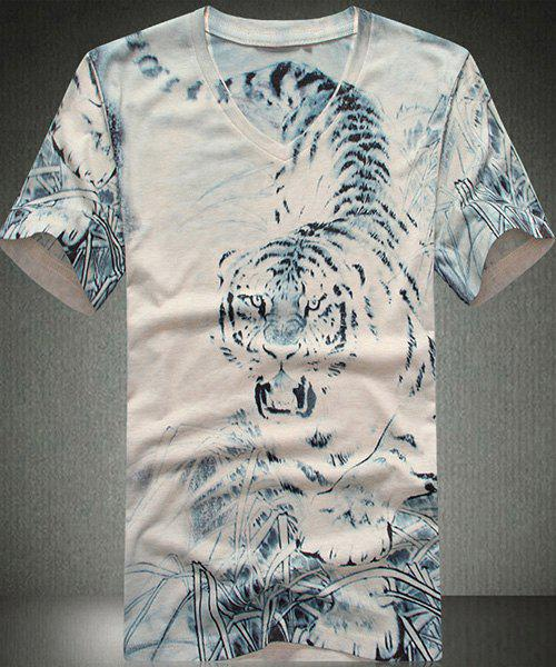 Slim Fit Tiger Printed V-Neck Short Sleeves T-Shirt For Men - WHITE L