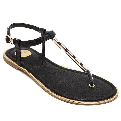 Leisure Flip Flop and Metal Design Women's Sandals - BLACK 36