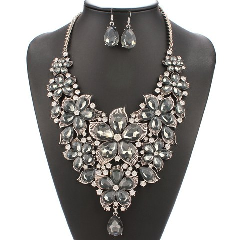 A Suit of Blossom Faux Pearl Necklace and Earrings - GRAY