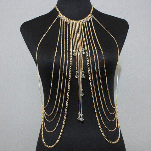 Gorgeous Faux Crystals Multilayer Tassel Bikini Body Chain For Women - GOLDEN