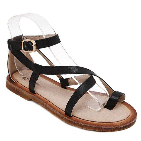 Leisure Flat Heel and PU Leather Design Women's Sandals - BLACK 39