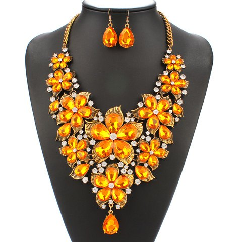 A Suit of Chic Faux Pearl Floral Chain Necklace and Earrings For Women - YELLOW