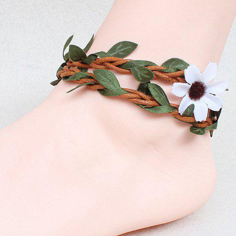 Elegant Knitted Rattan Leaf Flower Anklet For Women - COLORMIX