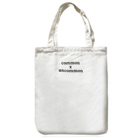 Simple Letter Print and Canvas Design Women's Shoulder Bag - WHITE