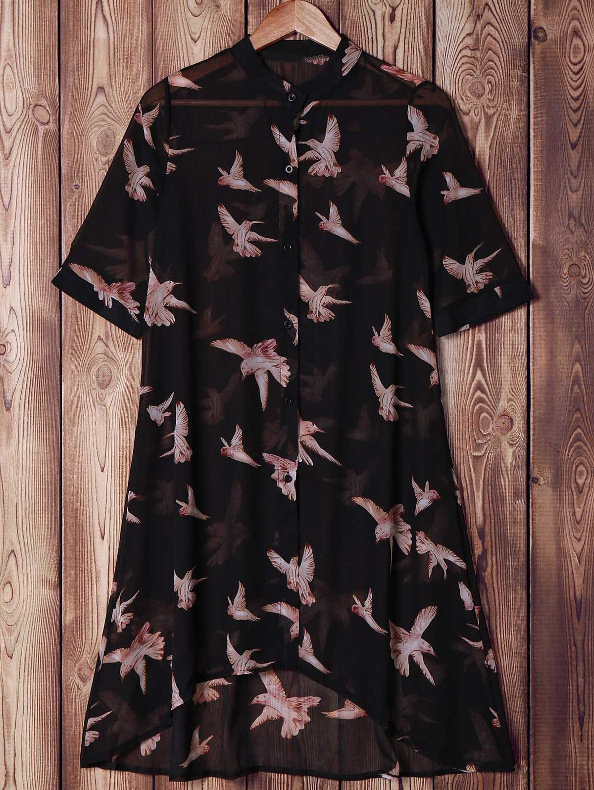 Trendy Short Sleeve Bird Printed High Low Shirt Dress For Women - BLACK ONE SIZE(FIT SIZE XS TO M)
