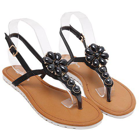 Concise Solid Color and Beading Design Women's Sandals - BLACK 39