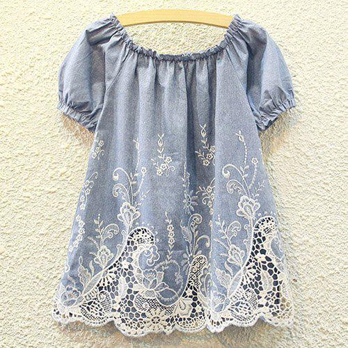Cutwork Ruffle Tiny Floral Embroidery Blouse - DENIM BLUE ONE SIZE(FIT SIZE XS TO M)