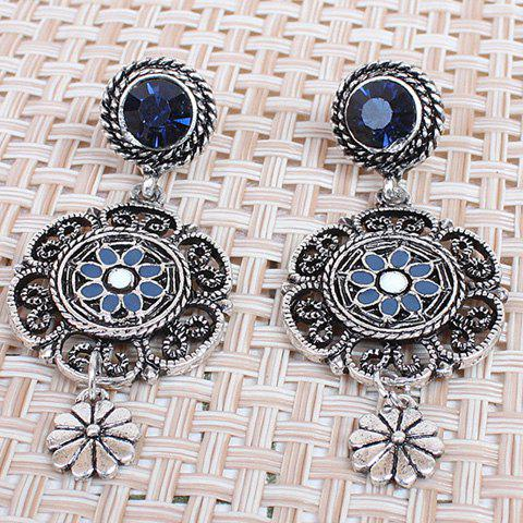 Pair of Rhinestone Hollow Out Flower Earrings - COLORMIX