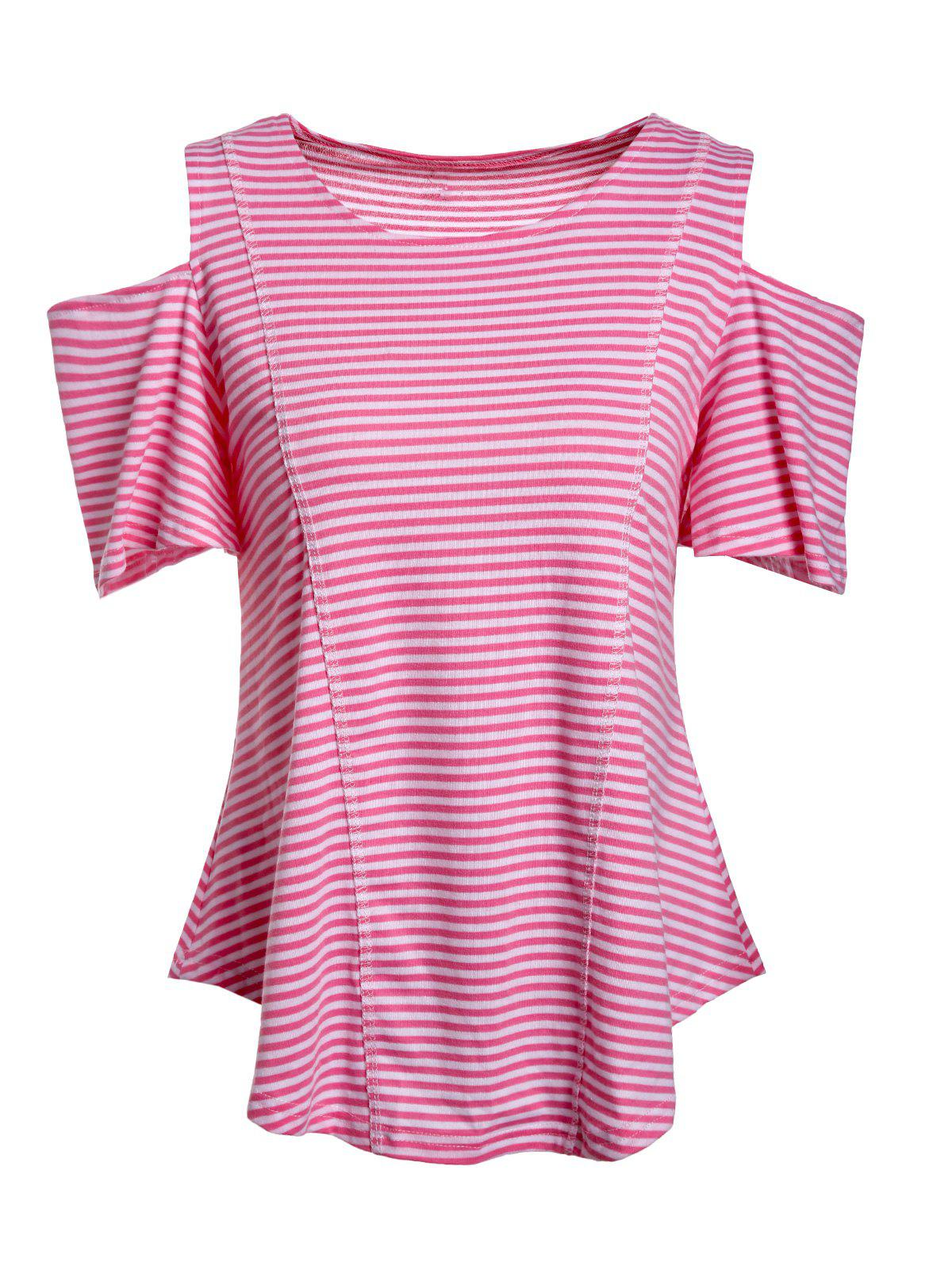 Striped Cold Shoulder Tee - STRIPE M