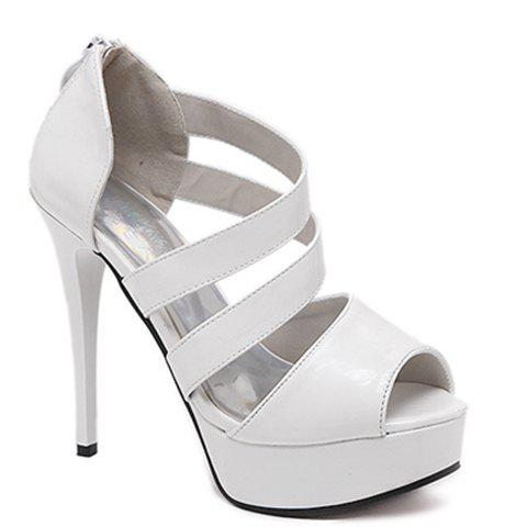 Fashionable Patent Leather and Zipper Design Women's Sandals - WHITE 37
