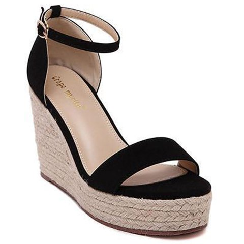 Fashionable Ankle Strap and Platform Design Women's Sandals - BLACK 38