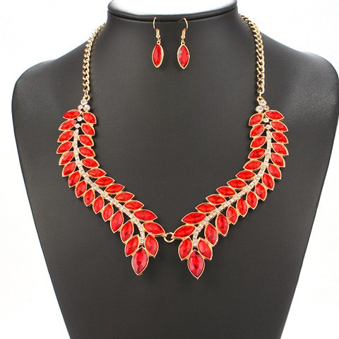 A Suit of Leaf Rhinestone Necklace and Earrings - RED
