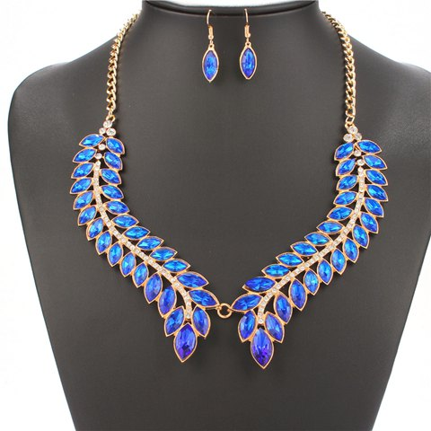 A Suit of Leaf Rhinestone Necklace and Earrings - BLUE